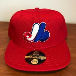 Montreal Expos Hat Baseball Cap Fitted 7 1/2 New Era Vintage Red Mesh Bp Mlb