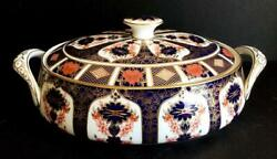 Royal Crown Derby Oval Old Imari Covered Vegetable Dish Bone China 1128
