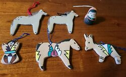 South Western Pottery Christmas Ornaments Native American Horses And Donkey