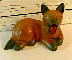 Vintage Lifesize Wooden Carved Yawning Siamese Cat Brown And Black