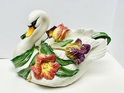 Fitz And Floyd Large Tulip Swan Soup Tureen 11 Tall, 15 Long, 9 Wide Euc