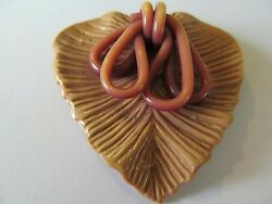Vintage Large Salmon Pink Tone Heart Shape W/ribbon Bow Celluloid Brooch Pin