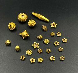 Ancient Burmese South East Asian Antiquities 18 K Pyu Period Gold Jewelry Beads