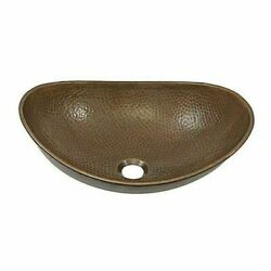 Oval Vessel Sink Copper Rustic Hammered Farmhouse Bath Counter Vanity Boat Style