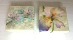 Set Of 2 Capiz Oyster Shell Orchid Flower 3 Trinket Box Airbrushed Philippines