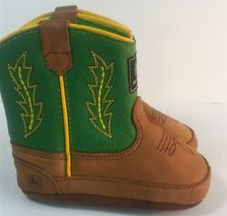 John Deere Brown Green Leather Infant Toddler Cowboy Boots Size 3 Style Jd0186