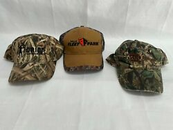 3 Used Camouflage Advertising Caps Hats Orion Instruments Fleet Farm Napa Lamps