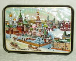 Russian Lacquer Box Moscow Kremlin, Red Square And St. Basil Hand Painted