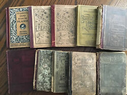 Antique Lot Of 10 School Books - Readers Arithmetic Physiology 1866-1888