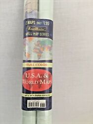 50quot; X 38quot; World and USA Two Wall Map Set Paper Rolled