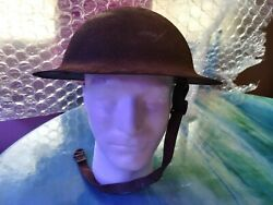 Haunted World War 1 Doughboy Helmet With Original Leather, Active Duty