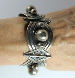 Vintage Modernist Early Mexico Sterling Silver 4 Link Bracelet Marked Taxco