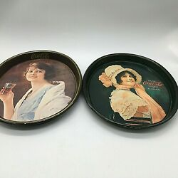 L Ot Of 2 Vintage Drink Coca-cola 15 X 12 Oval Metal Serving Tray Lady 1973