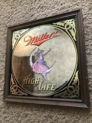 """Miller High Life Advertising Mirror """"witch Sitting On 1/2 Moon"""" 14"""" X 14"""" 1979"""