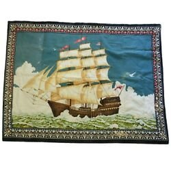 Vintage Tapestry Tall Ship Clipper Nautical Wall Hanging 100% Cotton Turkey
