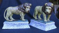Early 19th Cent. English Staffordshire Pair of Lions