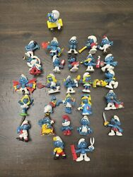 Vintage Schleich Peyo 1970and039s 1980and039s Smurfs Pvc Figures 2 Lot Of 28