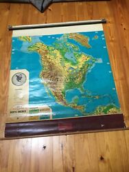 Vintage Cram's Physical-political Pull Down Map Of North America