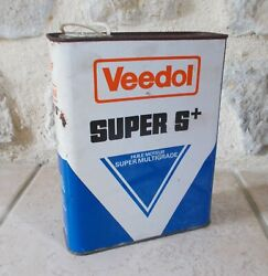 Vintage France French Oil Can Tin Veedol Super S+ Auto Old 2 L Petroleum