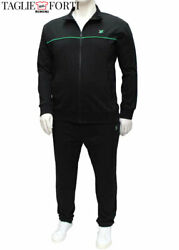 Black Tracksuit Trousers Sweatshirt Cotton Jersey Plus Size Man. Big And Tall.