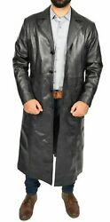 Men's Real Genuine Lambskin Urban Quality Leather Buttons Long Trench Coat Rx135