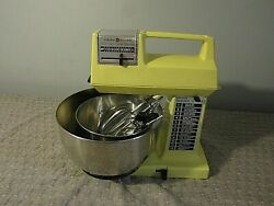 Vintage General Electric 12-speed Stand Mixer With Attachments Yellow D1-3555 2