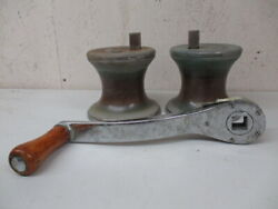 Vintage South Coast Winch Set With 10 Handle Chrome Plated Bronze
