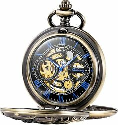Antique Dragon Mechanical Skeleton Pocket Watch With Chain