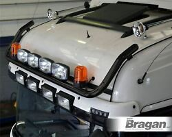 Roof Bar + Spot Lamps + Amber Beacons For Kenworth W900 Black Stainless Truck