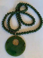 Vintage 18k Large Round Jade Pendant With 30andrdquo 8 Mm Jade Bead Necklace