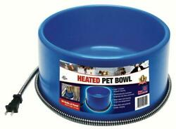 Fi Heated Electric Dog Cat Pet Water Bowl Outdoor Waterer 1.5 Gallon Blue