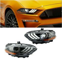 Pair Drl Dual Beam Projector Headlights Headlamp For 2018 2019 Ford Mustang