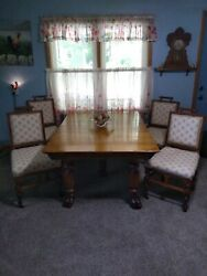 Americana Antique Table And Gothic Style Chairs Dining Set Table Chairsandnbsp