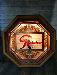 Vintage 1970's Rainier Beer 16 Faux Stained Glass Lighted Plastic Octagon Shape