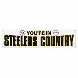 Party Animal Nfl Pittsburgh Steelers Giant 8 X 2 Banner White