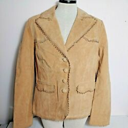 Iman Collection Tan Suede Leather Button Up Jacket Blazer Size L New -o