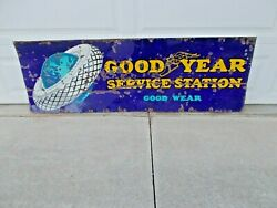 1930and039s Era 72 X 24 Good Year Service Station Good Wear Porcelain Sign Gas Oil