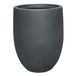 Round Concrete Planter Tall Lightweight Plant Container Home Room Patio Use 21in