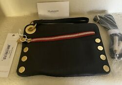 NEW HAMMITT BLACK NASH SMALL WRISTLET LEATHER CROSSBODY WITH RED COLOR $145.00