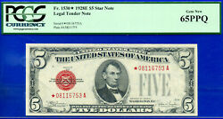 Near Top Pop- 1928-e 5 Us Note 3rd Finest - Red Seal Star Pcgs 65ppq 6753-