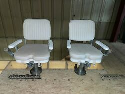 Leeand039s Tackle Vintage Fighting Chair Set Chrome Plated Bronze And Fiberglass