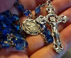 Vintage Royal Blue Glass Sterling Rosary 18.50 29g Roman Catholic 1960and039s