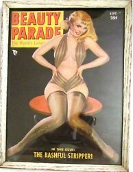 Vintage Beauty Parade's Framed Magazine Cover Pin Up The Bashful Stripper