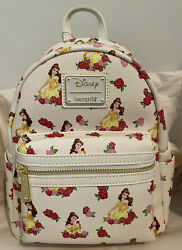 Loungefly Disney Beauty And The Beast Belle Roses Mini Backpack Exclusive New