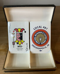 New Sealed Vintage Ibew Local 481 Indianapolis In Playing Cards, 2 Decks + Case