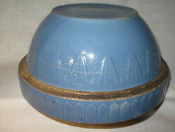 Antique Ruckels Mixing Bowl Stoneware 10-3/8 Picket Fence Inverted Pyramid Blue