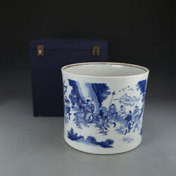 Chinese Antique Porcelain Qianlong Qing Blue And White War Will Pen Container