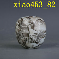 Chinese Antique Porcelain Qing Yongzheng Ink Color Landscape Water Bowl