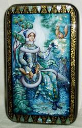 Russian Lacquer Box Kholui Snow Maiden With Squirrels Miniature Handpainted