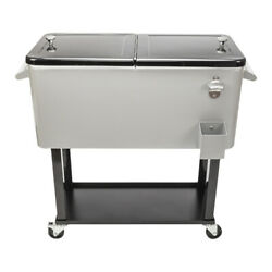 80qt Rolling Warm Cooler Food Cart Ice Chest Patio Outdoor Warm Stainless Steel